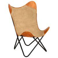 vidaXL Krzesło motyl, brązowe, skóra naturalna i płótno