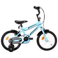 vidaXL Rower dla dzieci, 14 cali, czarno-niebieski