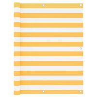vidaXL Parawan balkonowy, biało-żółty, 120x400 cm, tkanina Oxford