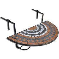 vidaXL Wiszący stolik balkonowy z mozaiką, terakota i biały