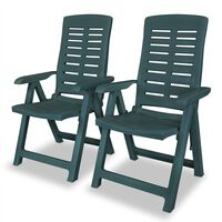 vidaXL Rozkładane krzesła ogrodowe, 2 szt., plastikowe, zielone