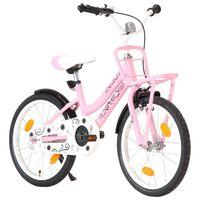 """vidaXL Rower dziecięcy z przednim bagażnikiem, 18"""", różowo-czarny"""