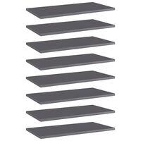 vidaXL Półki na książki, 8 szt., wysoki połysk, szare, 60x30x1,5 cm