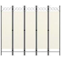 vidaXL Parawan 5-panelowy, kremowy, 200 x 180 cm