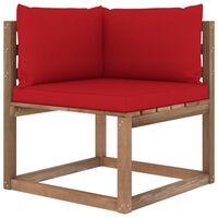 vidaXL Ogrodowa sofa narożna z palet, z czerwonymi poduszkami