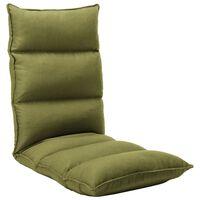 vidaXL Składane krzesło podłogowe, zielone, tkanina
