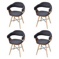 vidaXL Krzesła do jadalni, 4 szt., ciemnoszare, gięte drewno i tkanina