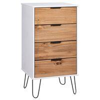 vidaXL Komoda, jasne drewno i biel, 45x39,5x90,3 cm, drewno sosnowe