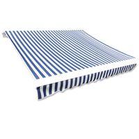 vidaXL Tkanina do markizy, niebiesko-biała, 4 x 3 m (bez ramy)