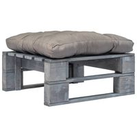 vidaXL Ogrodowe siedzisko z palet z szarą poduszką, szare drewno