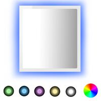 vidaXL Lustro łazienkowe LED, wysoki połysk, białe, 40x8,5x37cm, płyta