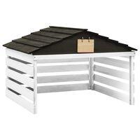 vidaXL Garaż dla kosiarki robotycznej, czarno-biały, 78x74x54cm, jodła