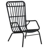 vidaXL Fotel ogrodowy, polirattan, czarny