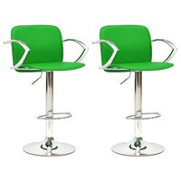 vidaXL Stołki barowe, 2 szt., zielone, sztuczna skóra