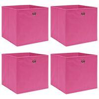 vidaXL Pudełka, 4 szt., różowe, 32x32x32 cm, tkanina
