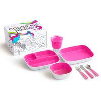 Munchkin 7-częściowy zestaw naczyń dla dzieci Color Me Hungry, różowy