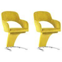 vidaXL Krzesła stołowe, 2 szt., żółte, aksamitne