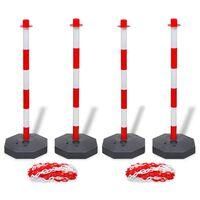 vidaXL Zestaw 4 słupków i 2 plastikowych łańcuchów o długości 10 m