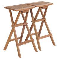 vidaXL Składane stołki barowe, 2 szt., lite drewno tekowe
