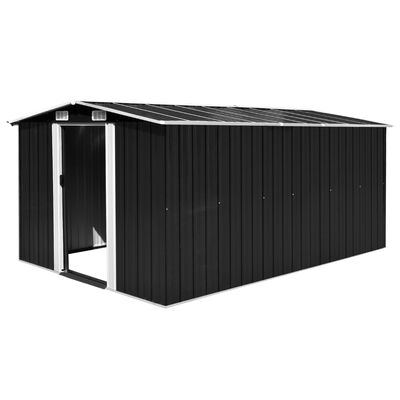 vidaXL Szopa ogrodowa, 257x392x181 cm, metal, antracytowa