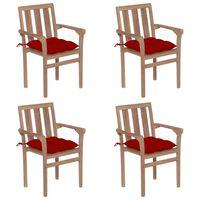 vidaXL Sztaplowane krzesła ogrodowe z poduszkami, 4 szt., tekowe