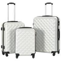 vidaXL Zestaw twardych walizek, 3 szt., jasny srebrny, ABS