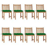 vidaXL Krzesła ogrodowe z poduszkami, 8 szt., lite drewno tekowe