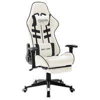vidaXL Fotel dla gracza, biało-czarny, sztuczna skóra