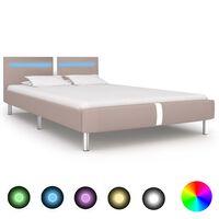 vidaXL Rama łóżka LED, kolor cappuccino, sztuczna skóra, 140 x 200 cm