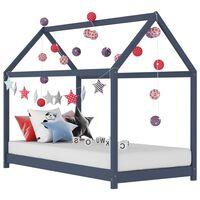 vidaXL Rama łóżka dziecięcego, szara, lite drewno sosnowe, 80 x 160 cm