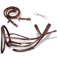 Skórzane ogłowie dla konia z wędzidłem i wodzami, brązowe