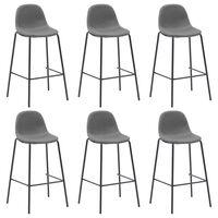 vidaXL Krzesła barowe, 6 szt., taupe, tkanina