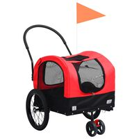 vidaXL Przyczepka dla zwierząt do roweru i biegania, czerwono-czarna