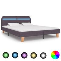 vidaXL Rama łóżka z LED, taupe, tapicerowana tkaniną, 180 x 200 cm