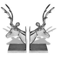 vidaXL Podpórka do książek, motyw jelenia, 2 szt. aluminiowa, srebrna