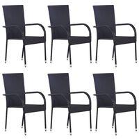 vidaXL Sztaplowane krzesła ogrodowe, 6 szt., polirattan, czarne