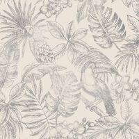 DUTCH WALLCOVERINGS Tapeta z motywem liści i ptaków, biało-srebrna