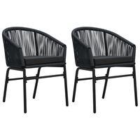 vidaXL Krzesła ogrodowe, 2 szt., czarne, rattan PVC