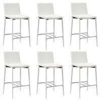vidaXL Krzesła barowe, 6 szt., białe, sztuczna skóra