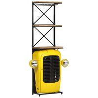 vidaXL Szafka na wino, żółta, 49x31x170 cm, traktor, lite drewno mango