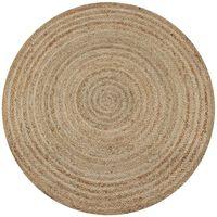 vidaXL Dywan pleciony z juty, 90 cm, okrągły
