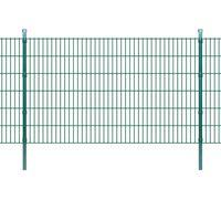 vidaXL 2D Panele i słupki ogrodzeniowe 2008x1230 mm 34 m zielone