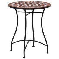 vidaXL Mozaikowy stolik bistro, brązowy, 60 cm, ceramiczny