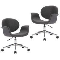 vidaXL Obrotowe krzesła stołowe, 2 szt., szare, obite tkaniną