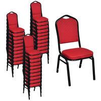 vidaXL Krzesła stołowe, 30 szt., czerwone, tkanina