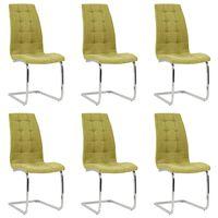 vidaXL Wspornikowe krzesła stołowe, 6 szt., zielone, obite tkaniną