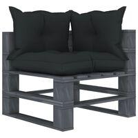 vidaXL Ogrodowe siedzisko narożne z palet, z poduszkami antracytowymi