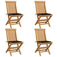 vidaXL Krzesła ogrodowe, czarne poduszki, 4 szt., lite drewno tekowe