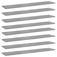 vidaXL Półki na książki, 8 szt., szarość betonu, 100x20x1,5 cm