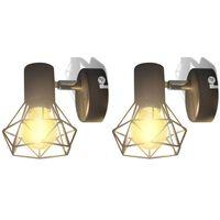 vidaXL Kinkiety w industrialnym stylu, 2 szt., czarne, żarówki LED